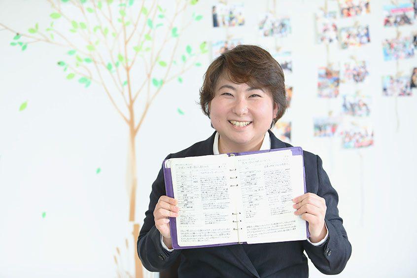 手帳學入門講座の講師 石﨑沙織さんとご自身のオリジナル手帳